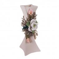 Ваза с декоративной лепкой и сухоцветами 20 см