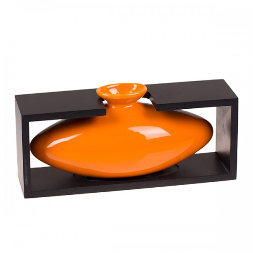 Ваза декоративная в рамке, оранжевая 12х26 см
