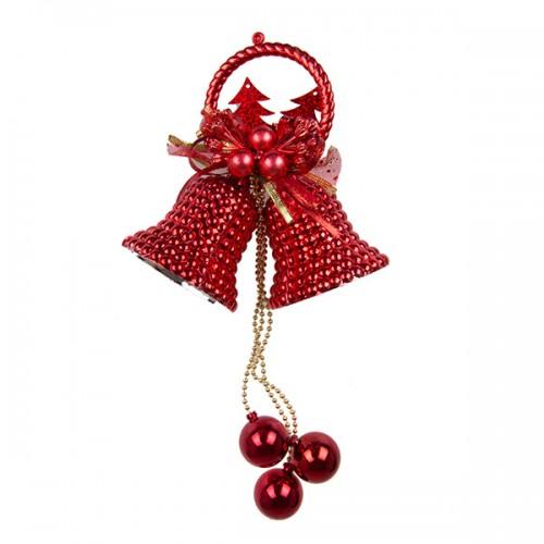 Новогоднее украшение Колокольчик с шариками 25 см