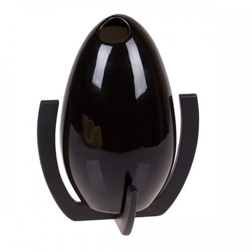 Ваза декоративная с подставкой, чёрная 25х17 см