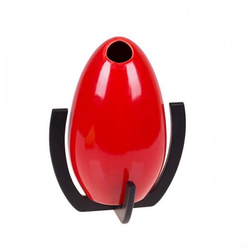 Ваза декоративная с подставкой, красная 25х17 см