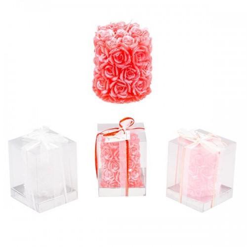 Свеча декорированная розами 9.5х8 см