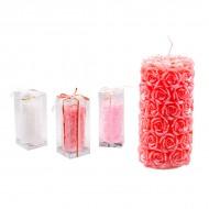 Свеча декорированная розами 17х8 см