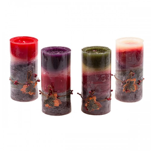 Свеча задекорированая Осень 15х7 см