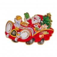 Двухстороннее декоративное панно Дед Мороз в автомобиле 70 см
