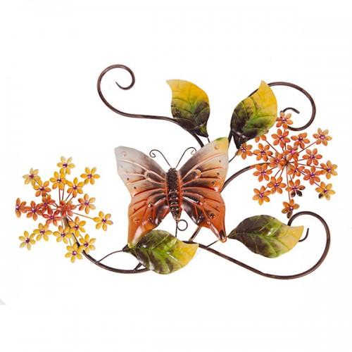 Настенное металлическое украшение Цветы с бабочкой 72х49 см