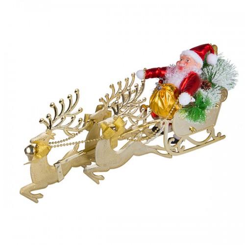 Новогоднее украшение Санта Клаус в санях 60х32 см