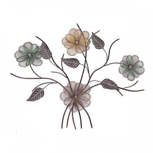 Настенное металлическое украшение Цветы 103х76 см