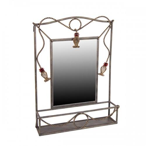 Зеркало настенное металлическое с полочкой 76х54 см
