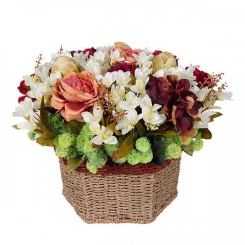 Композиция Летние цветы в корзинке