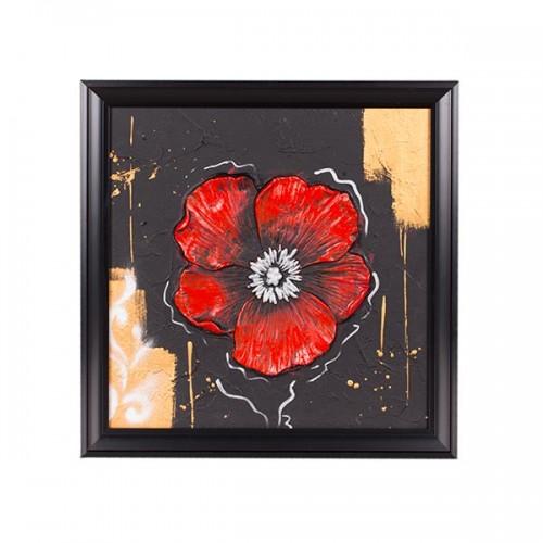 Панно настенное Цветок 45х45 см красный
