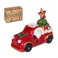 Новогодняя статуэтка Санта Клаус в автомобиле 20х15 см