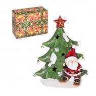 Новогодняя статуэтка Ёлочка с Санта Клаусом 30х23 см