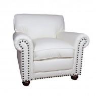 Кресло AY Lazzaro кожаное 100х100х90 см белое