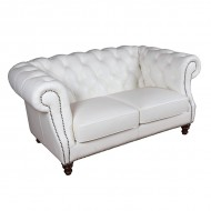 Диван AY Lazzaro двухместный кожаный 175х100х80 см белый