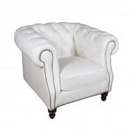 Кресло AY Lazzaro кожаное 115х100х80 см белое
