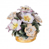 Цветочная композиция из фарфора в вазочке 14х14х13 см
