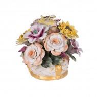 Цветочная композиция из фарфора в вазочке 14х13 см
