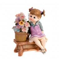 Статуэтка Феечка с цветами 14х14х9см