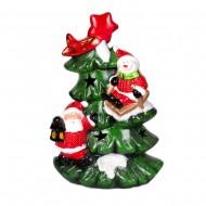 Ёлка с Санта Клаусом и снеговиком 26х16х10см