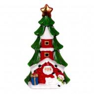 Ёлка с домиком,Санта Клаусом и снеговиком 27х15х12см