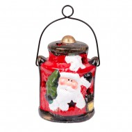 Фонарик керамический светящийся с Санта Клаусом   10х8х8 см