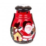 Фонарик керамический светящийся с Санта Клаусом 17х10х9 см