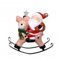 Статуэтка керамическая светящаяся Санта Клаус на олене 21х22х10 см