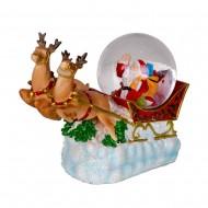 Шар Санта Клаус в санях с оленями 15х18х8см