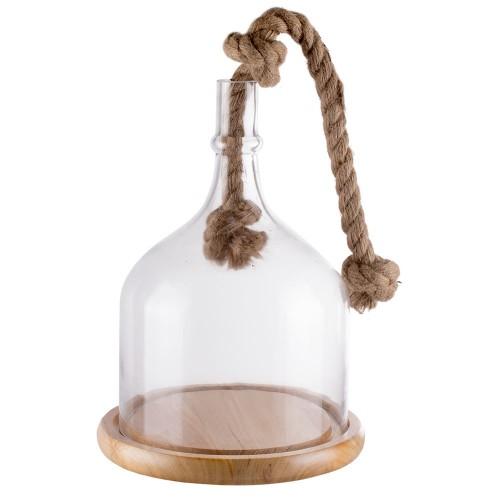 Купол стеклянный на деревянной подставке с декоративной веревкой 27 см