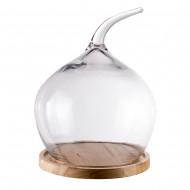 Купол стеклянный на деревянной подставке круглый 38 см