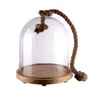 Купол стеклянный на деревянной подставке с декоративной веревкой 30 см