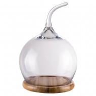 Купол стеклянный на деревянной подставке круглый 21 см