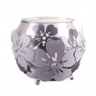 Ваза стеклянная в металлической оправе «цветы» 8х9 см