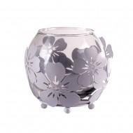 Ваза стеклянная в металлической оправе «цветы» 8х10 см