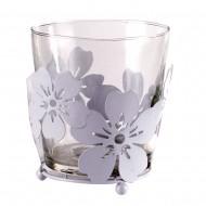 Ваза стеклянная в металлической оправе «цветы» 11х11 см