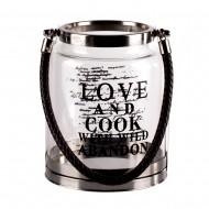 Ваза прозрачная в форме колбы с ручкой  Love 10х16 см