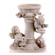 Статуэтка Колонна садовая с чашей и ангелочками 26х31см