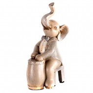 Статуэтка Слоник-музыкант  с барабаном 10х7х17,5 см