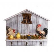 Вешалка Петух с курочками и цыплятами 38х32 см