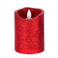 Светодиодная свеча на батарейках с блестками красного цвета 10х7,5 см
