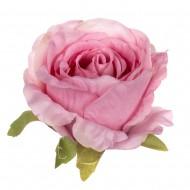 Искусственная головка розы «розовая» 10 см