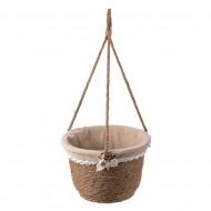 Кашпо подвесное плетеное в форме корзины 27х18х17 см