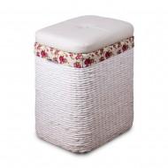 Пуф белый плетеный с отделением для хранения 37х27х55 см