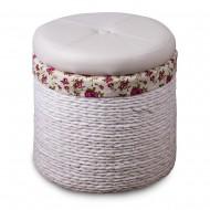 Пуф белый круглый плетеный с отделением для хранения 40х40х46 см