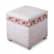 Пуф белый плетеный с отделением для хранения 42х42х46 см