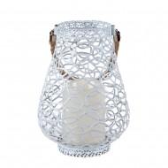 Подсвечник металлический ажурный  подвесной со свечей  20х14 см