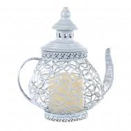 Подсвечник белый металлический в форме чайника со свечей 24х18 см