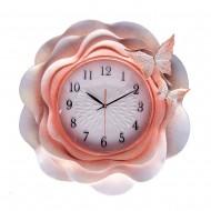 """Часы настенные """"розовые"""" Цветок с бабочками 56х56 см"""