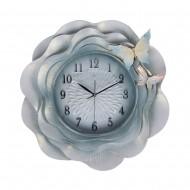 """Часы настенные """"голубые"""" Цветок с бабочками 56х56 см"""